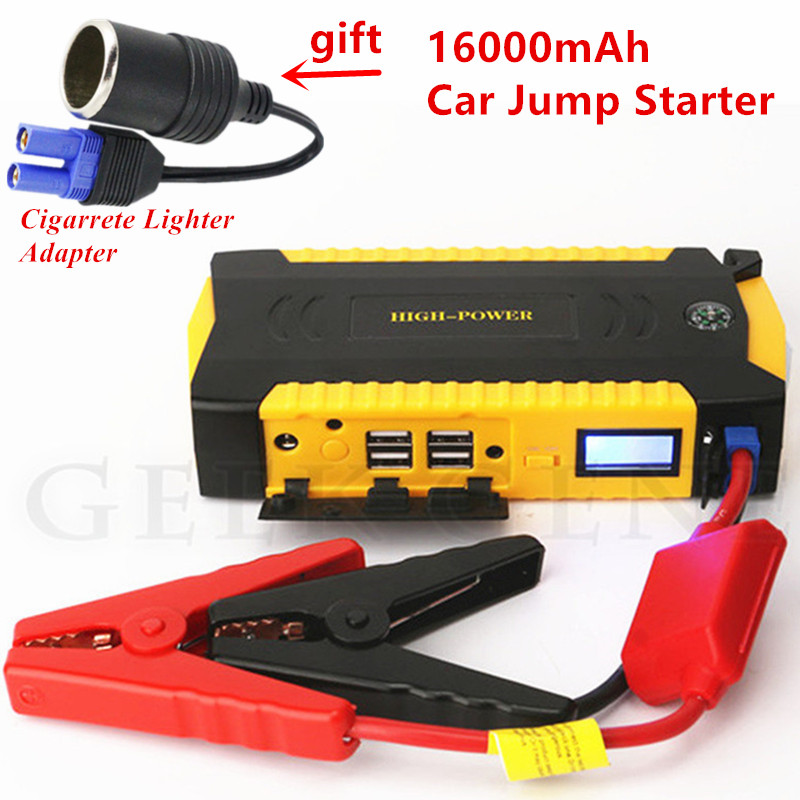 16000mAh Car Jump Starter Portable Starting Device 4USB Power Bank 12V Petrol Diesel Car Charger For Car Battery Booster Buster car jump starter 69900mah portable power bank 12v charger for car battery petrol 6 0l diesel 4 0l starting device booster buster