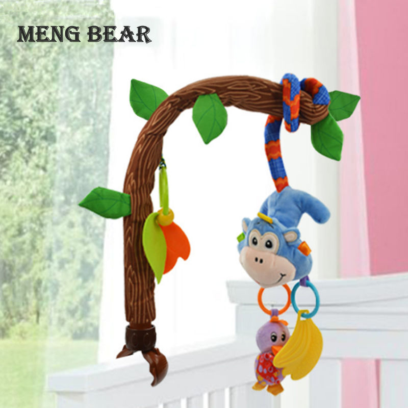 Meng Bear Baby Rattles Toys Mobiles Bendable Infant Crib Hanging Toy Bed Bell Music + Teethers Rustle Paper For 0-12 Months Baby