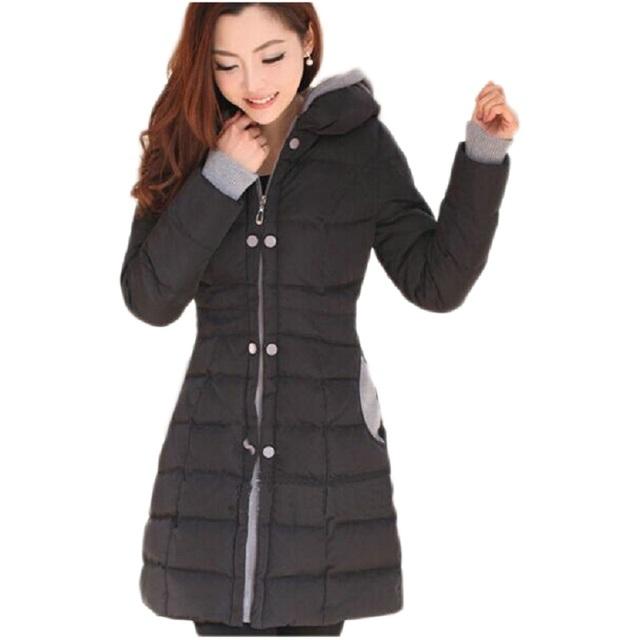 Mulheres casaco de inverno Longo 2016 new arrival poliéster Completa Engrossar trespassado Quente Acolchoado-Algodão Parkas manteau hiver femme