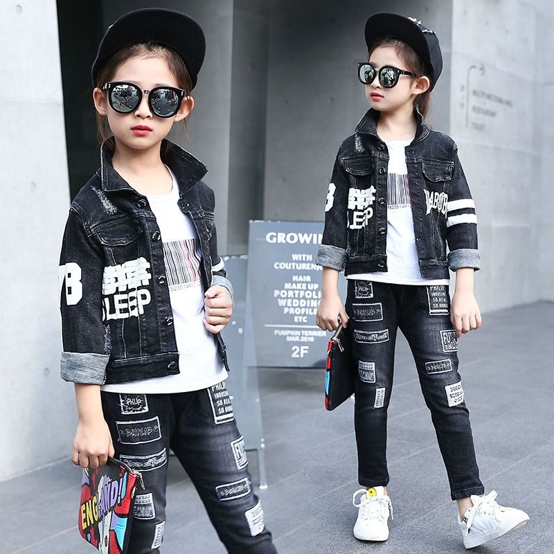 Spring Clothes New Pattern Girl Korean Trend Fashion Leisure Time Letter Girl Child Cowboy 2 Pieces Kids Clothing Suits Sets 2015 fashion baby spring three pieces suits korean printed cardigan shirts