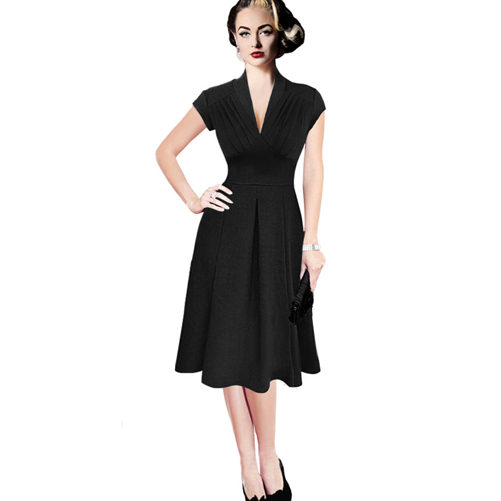 Wendywu Fashionable Solid Black Short Sleeve A Line New Pleated Brief Midi Dress for Prom