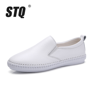 Image 2 - STQ 2020 Autumn Women Flats Shoes Ballerina Flats Leather Oxford Shoes For Women White Slip On Ballet Flats Loafers Shoes 9371