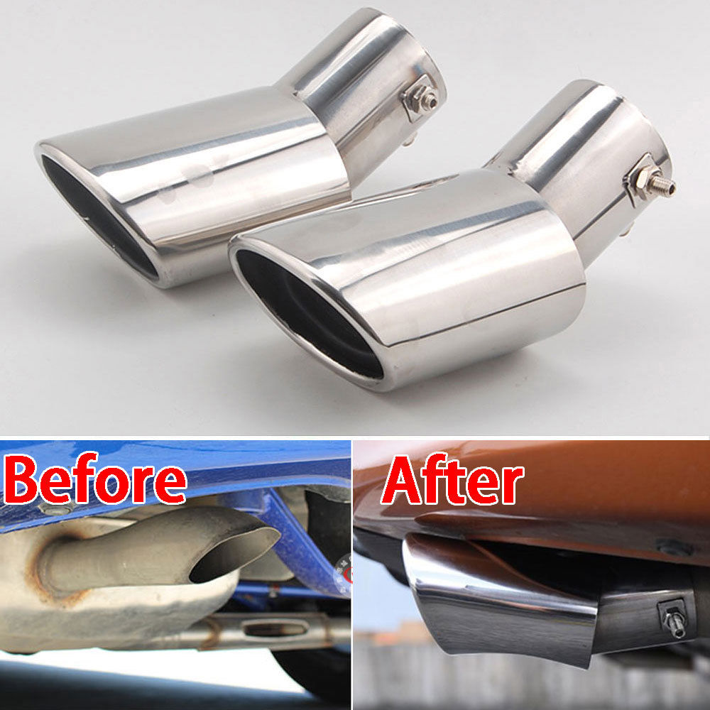 Chorme2Pcs Stainless Steel Exterior Rear Exhaust End Tail Pipe Muffler Tip Fit For Honda Civic 2016