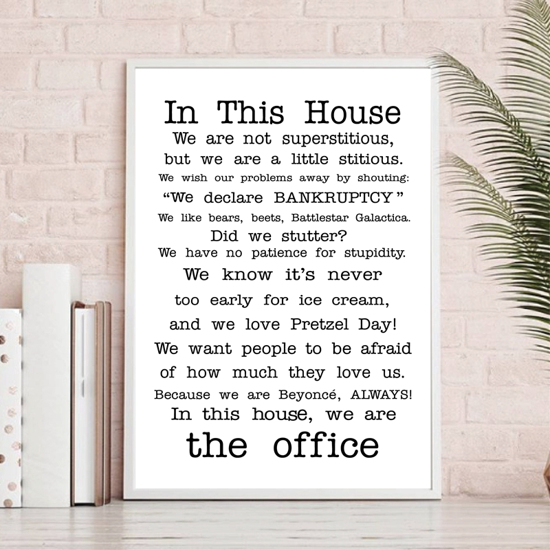 FAMILY FRIENDLY Version of The Office Quotes TV Poster Print the office tv show In this house Decor Funny Quotes Poster Painting image
