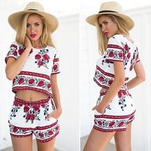 Women Fashion Summer Two-piece Printed Round Neck Short Sleeve T-shirt Short Pants