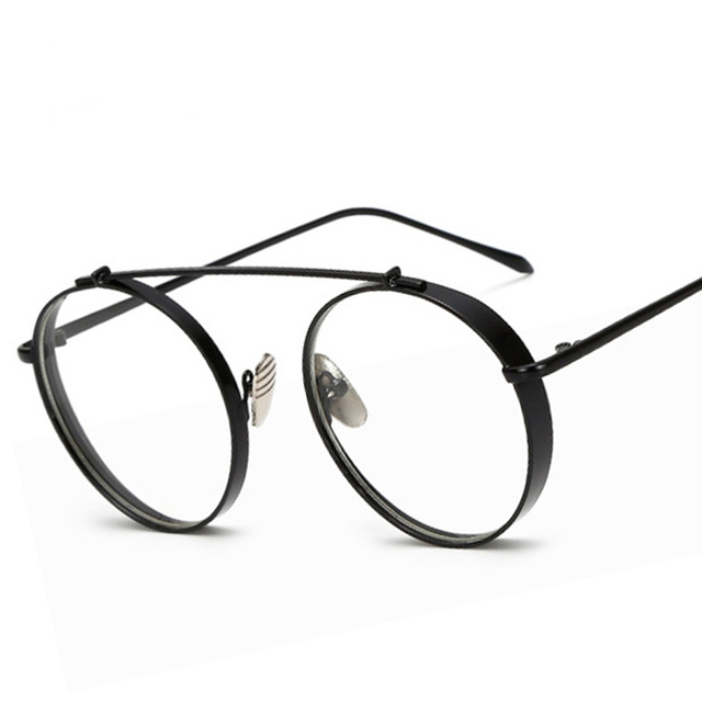 b0c1c532e287 SHELI Fashion Thick Metal Glasses Frame Women Round Eyewear Brand Designer  Retro Men Clear Lens Goggle