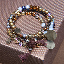 3pcs set Ethnic Multilayer Beaded Tassel Elastic Charm Bracelets Set Natural Stone Bead Charm Bracelet for