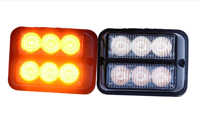 Higher star DC12V,6W Led car surface mounting strobe headlight,warning light,emergency lights,18 flash,waterproof,2pcs/1lot high intensity dc12v 9w led car sunshade warning lights strobe visor emergency light flash lights