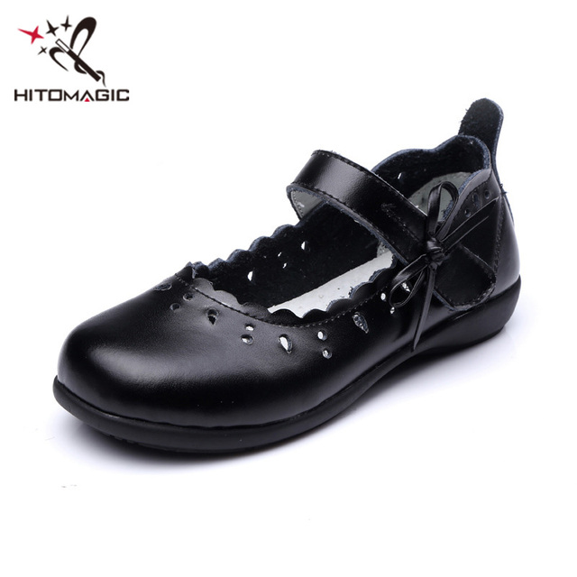 HITOMAGIC Girls Leather Shoes Bowknot Black Autumn Children's Shoes Made Of Genuine Leather For Dance Wedding Dress Princess Kid
