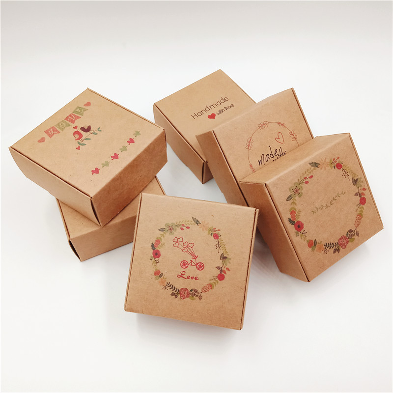50Pcs Mulit Color Gift Box Handmade Love Paper Jewelry/Wedding/Candy/Teas/Nuts/Cookies/Gifts Boxes  Paper Packaging Boxes