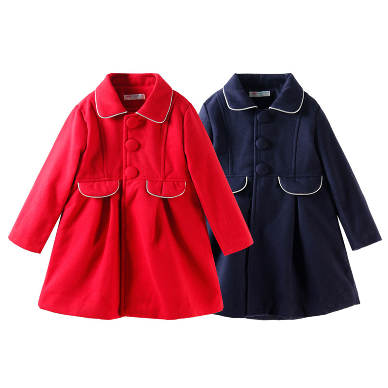 Mudkingdom Toddler Girl Coat Wool Jacket Single-breasted Winter Princess Overcoat Solid Jacket Long Tops fruit print single breasted kimono