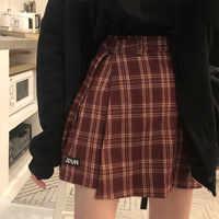 3 colores S-L 2018 Otoño e Invierno falda tipo pantalón corto para mujer coreano cintura alta A-line Shorts chicas plaid irregualr shorts (X882)
