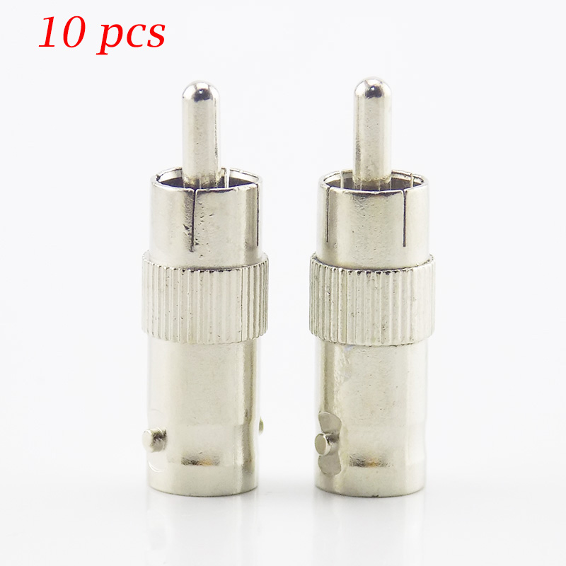 Gakaki 10Pcs/Lot Wholesale Splitter Plug Adapter Rca Bnc Connector Female To Rca Connector Male Coupler For Cctv Rg59 Cable