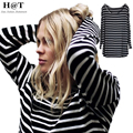 Smoves Womens Slouchy Breton Striped Slouchy Oversized Tee T-shirt Uneven Hem Long Top Modal Casual Autumn Shirts TT223
