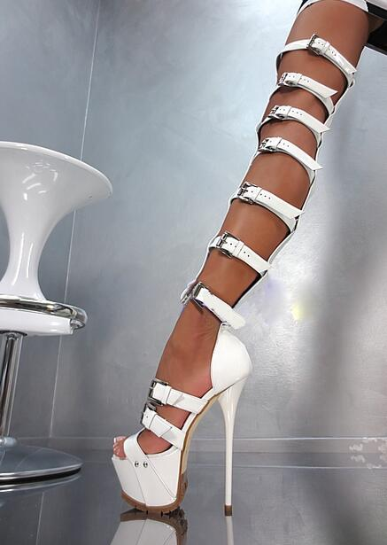 Sexy Black White Leather Buckle Strap Over The Knee Boots Peep Toe High Platform Gladiator Sandals Boots Lady Party Dress Shoes hot boots women sexy black thigh high boots peep toe soft leather back zip high heels over the knee boots gladiator sandal boots