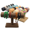 Unique Cord Bangle Bracelet Stand T Bar Hemp Rope Jewelry Holder Watches Display Rack For Shop Bracelet Storage Shelf Display