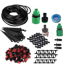 hot deal buy 5m/25m micro drip irrigation kit plants garden watering system automatic garden hose kits connector 30pcs adjustable drip diy