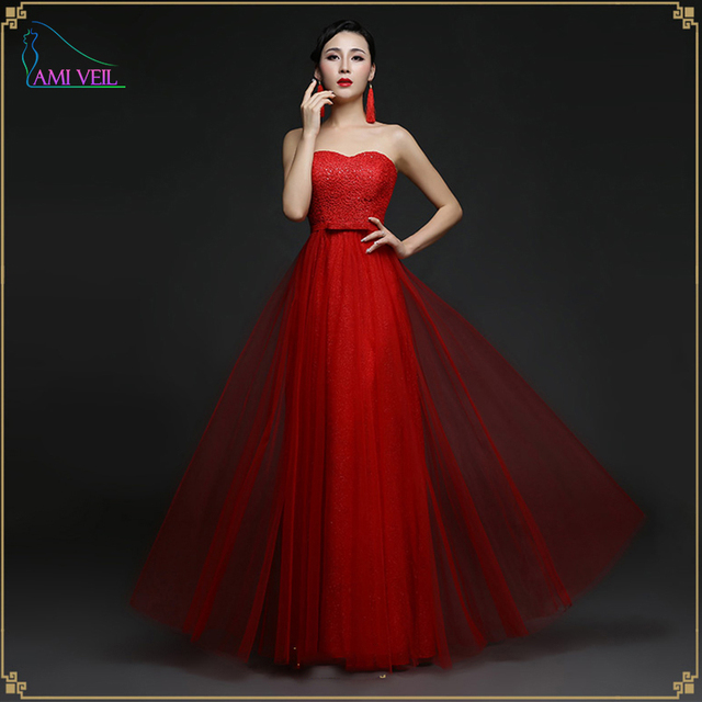 bb3c08911926 2016 Red Lace Sequined evening dresses slim chinese style formal ...