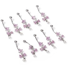 1pc Fake Piercing Rhinestone Bow Tie Leaf Pattern Barbell Belly Button Navel Rin
