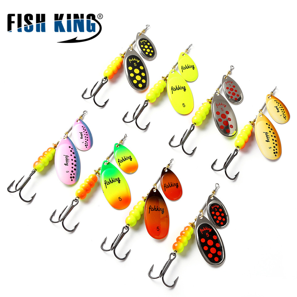 FISH KING 11cm-25G Mepps Brass Material Long Cast Spinner Bait Fish Metal Lures With Mustad Treble Hook Fishing Lure
