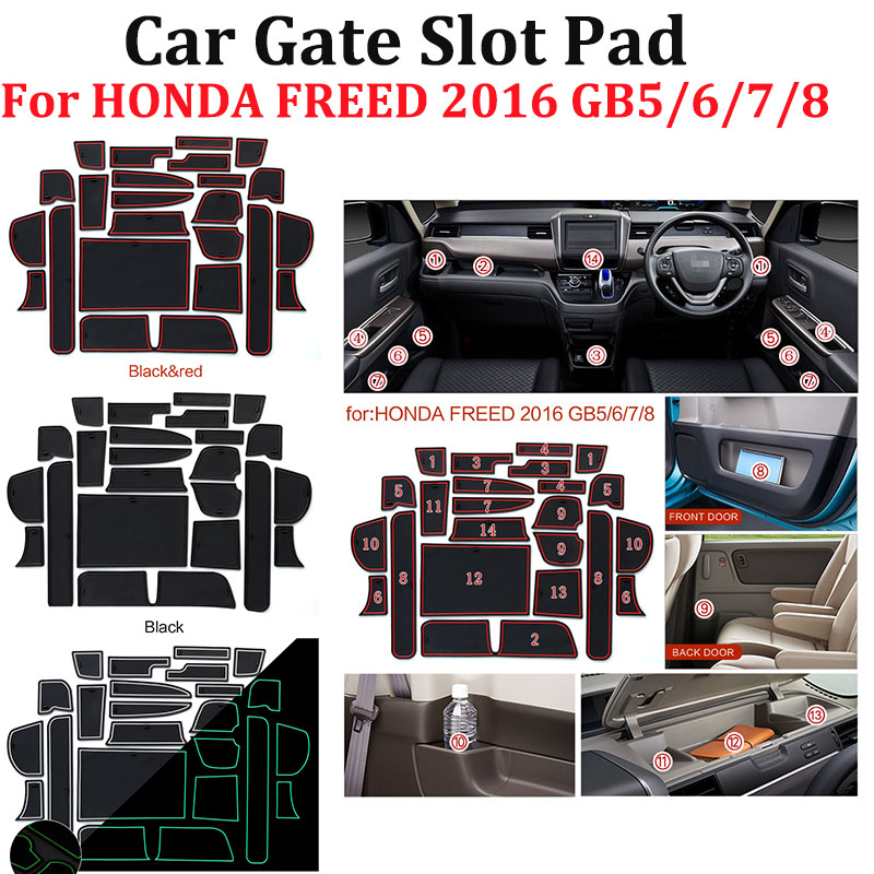 23pcs/set Car Door Groove Mat Gate Slot Pad Latex Anti Non Slip Car-styling For HONDA FREED 2016 GB5/6/7/8 Car Cup Mat