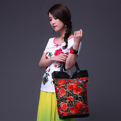 New National Ethnic Embroidery hand Bags Handmade Embroidered Shoulder Bag lady Flower Coins Bucket Bag Drawstring Handbag