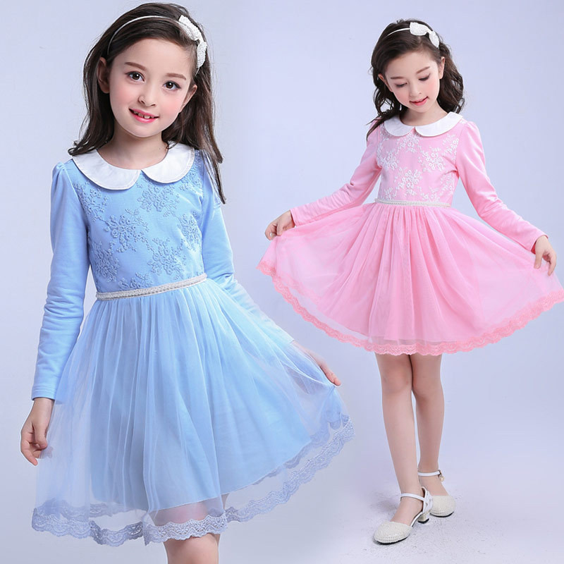 Flower Girl Tutu Dress Doll Collar Girls Birthday Party Princess Dresses Long Sleeve Kids Tutu Mesh Children Clothes Lace Ruched big flower girl birthday party dress costume girls princess dot sequin snowflake children s place big girls heart collar dress