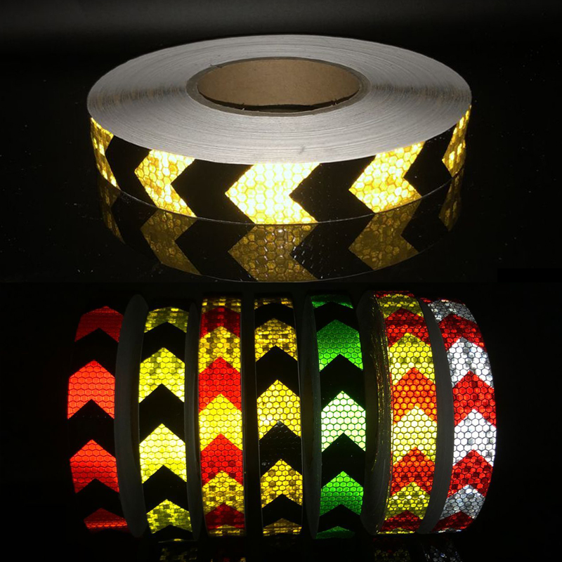 25mmx50m Arrow Safety Reflective Warning Tape Film Waterproof Sticker For Car