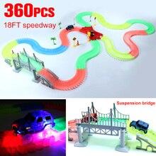 Чудесное светящиеся гоночной трассе изгиб flex вспышка в темноте сборки автомобилей игрушка 165/220/240/360 шт. Glow гоночный трек набор