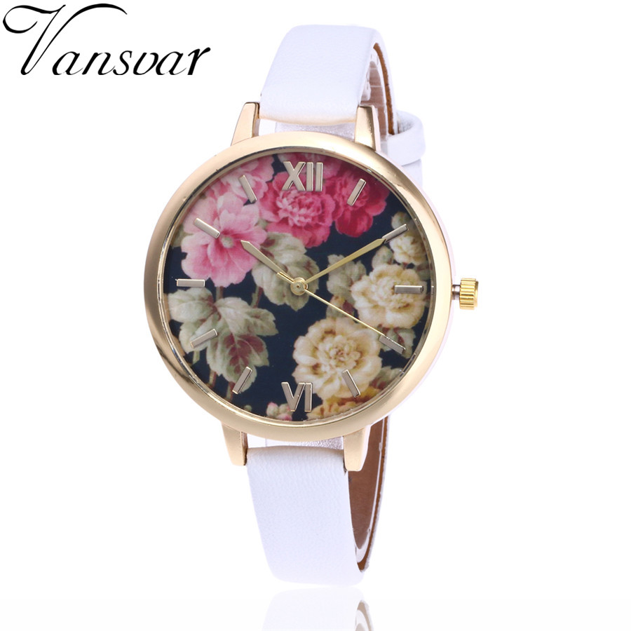 Vansvar Brand Fashion Women WristWatch Luxury Quartz Watch Floral Flower Watch Garden Beauty Bracelet Gift Relogio Feminino V56