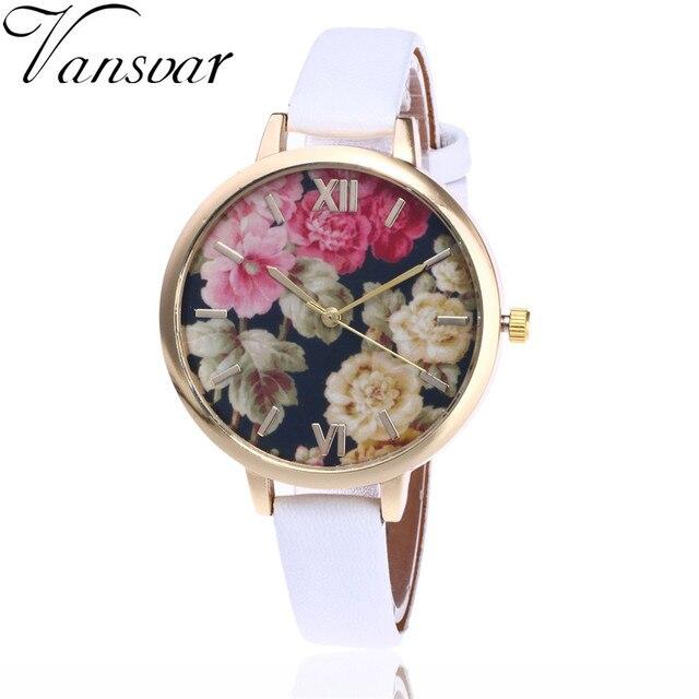d35aa8c2eab Vansvar Marca Moda Feminina Relógio de Pulso Pulseira de Relógio de Quartzo  Relógio De Luxo Flor