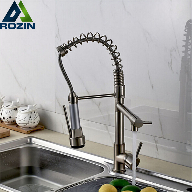 Luxury Chrome / Nickel Double Spout Pull Down Kitchen Sink Faucet Single Handle Brass Kitchen Mixer Taps free shipping high quality chrome brass kitchen faucet single handle sink mixer tap pull put sprayer swivel spout faucet