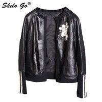 Autumn Fashion Women High Quality Sheepskin Round Neck Metal Cross Stitching White Striped Motorcycle Black Leather Jacket
