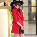 big Girls red coats autumn fall cardigan children kids jackets outwear 140 150 160 cm 9 10 years old 2015 teenage clothes