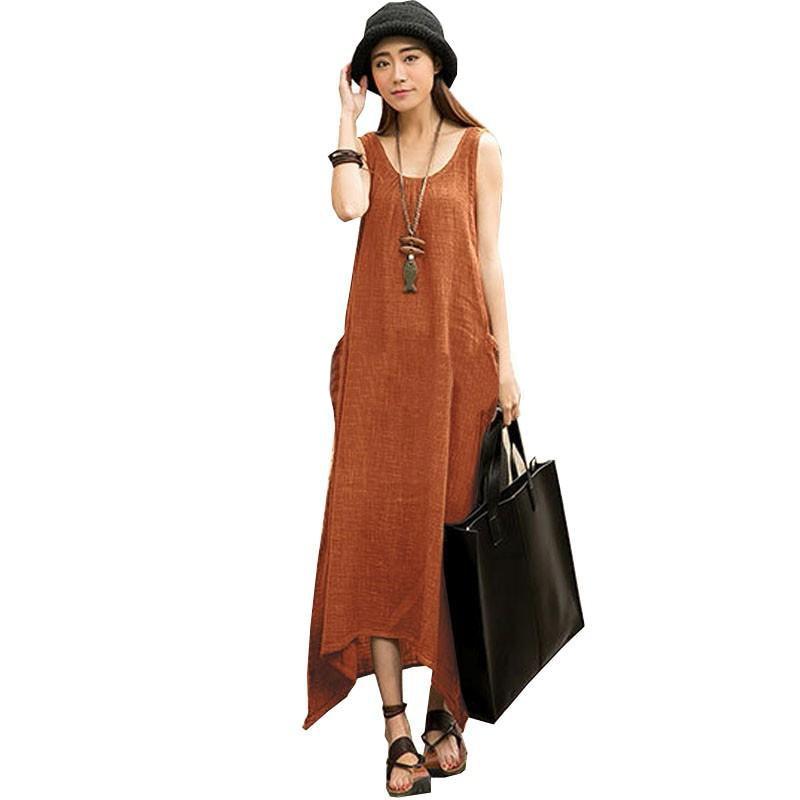 Casual Loose Cotton Linen Vintage Summer font b Dress b font 2017 Women Sleeveless O Neck