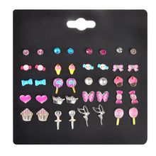 20 Pairs Kids Stud Earrings Set Mixed Color Cute Animal Heart Pearl CZ Studs Kit