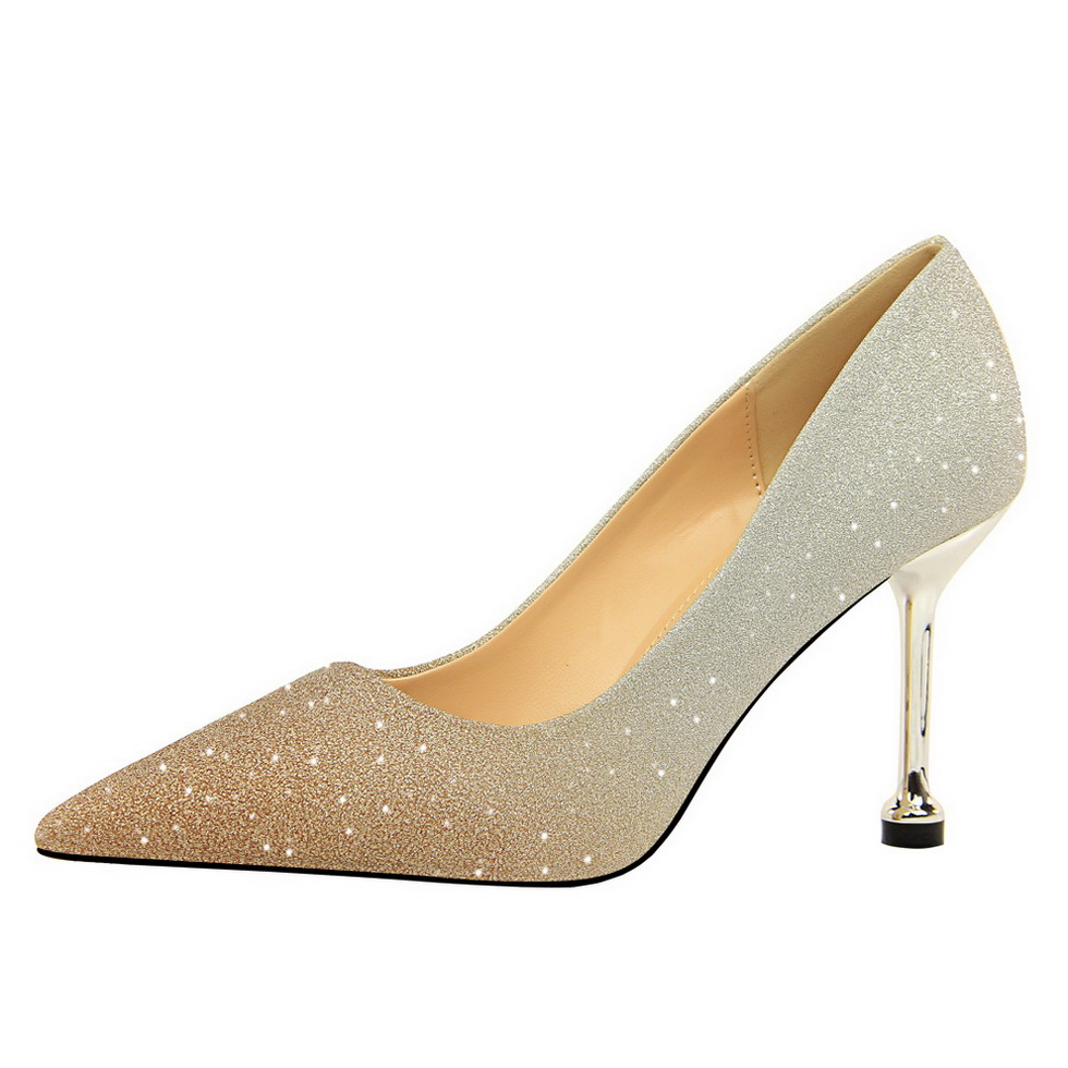 Women Shoes Sexy Sequins Women Pumps Pointed Toe Rainbow Colour Shoes Fahsion Woman Wedding Party High Heels Pink