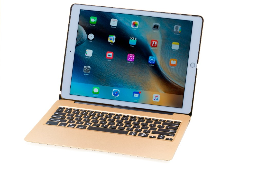 2016 Fashion Aluminum Keyboard Case with 7 Colors Backlight Backlit Bluetooth Keyboard & Power Bank for 12.9 inch ipad pro