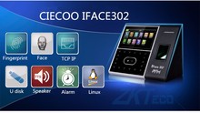 Iface302 face and fingerprint time attendance with 13.56MHZ card reader TCP/IP communication USB connector color touch screen