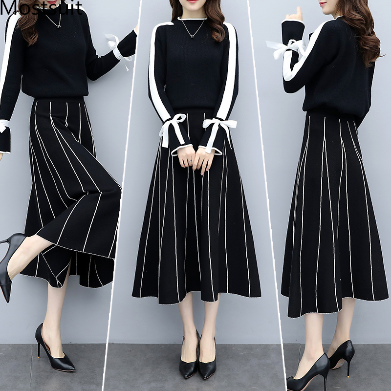 Plus Size Black Women Knitted Two Piece Sets Bow Tie Sweater And Long Skirt Suits Sets Winter Casual Elegant Vintage Ladies Sets 31