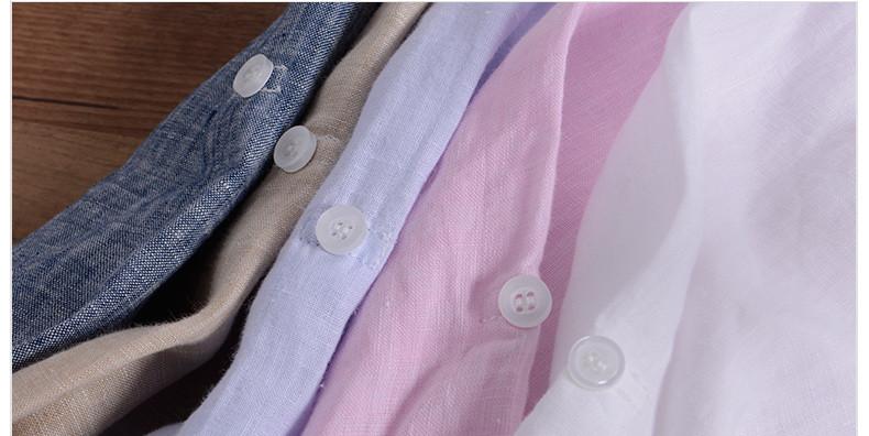Sky blue linen shirt men summer long sleeve casual men shirts slim breathable shirt mens brand clothing mens shirts chemise 3XL 16