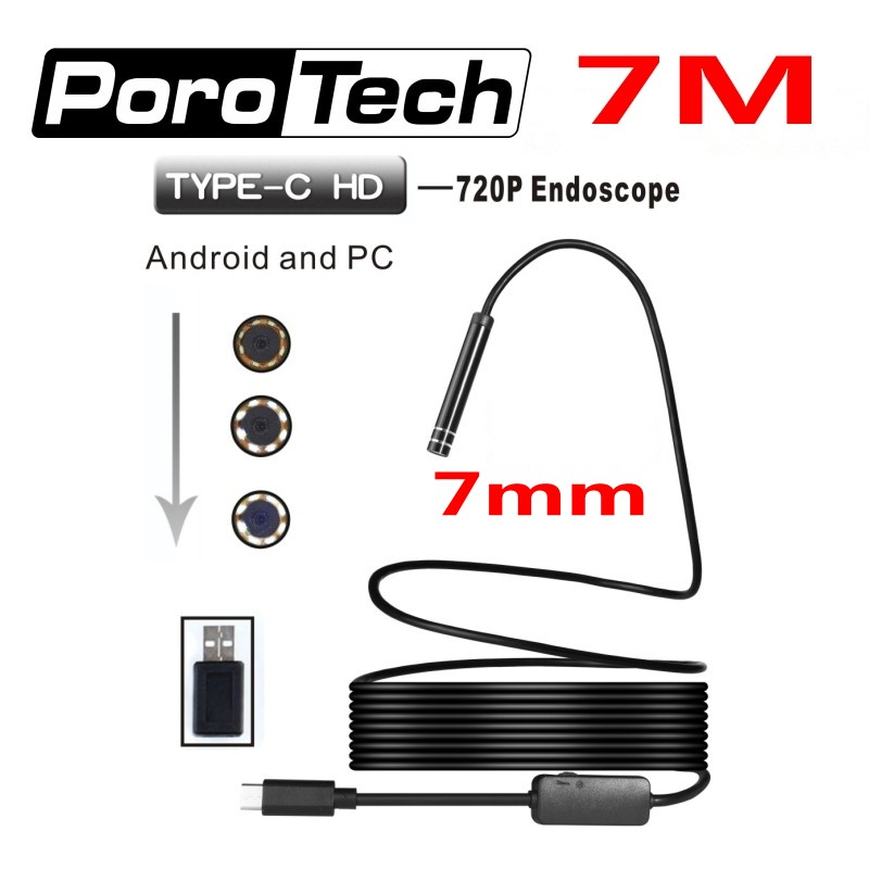7m Hard Cable Type-c interface Android phone PC OTG Endoscope camera 7mm lens Waterproof snake Borescope Inspection Camera 2m android otg usb endoscope camera 7mm lens ip67 waterproof snake tube inspection android phone pc usb dection borescope camera
