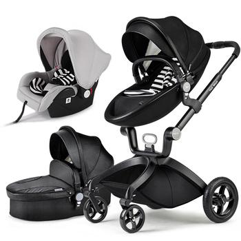 2018 Time-limited 2 In 1 Baby Carriage HOTMOM Stroller Suspension Folding Light Trolley Leather material 1