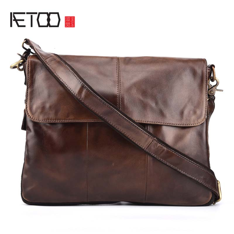 AETOO Genuine Leather bag Men Messenger Bags Casual Multifunction shoulder Crossbody Bags Handbags iPad Holder men leather bag