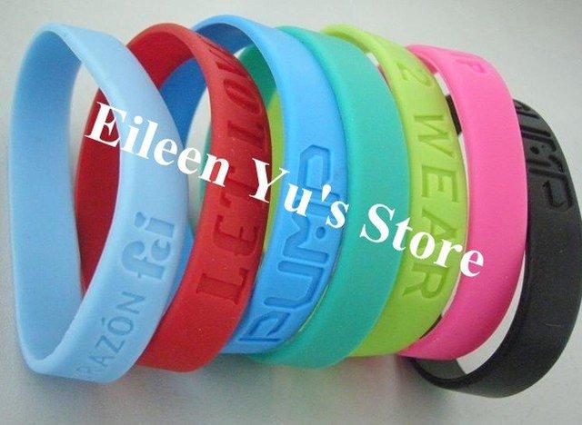 Free Shipping ! 500Pcs/Lot ! Custom Debossed Silicone Bracelet Silicone Wristband Promotion ID Bracelet For Women Men Bracelet
