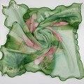 Hembra loto Georgette de Seda Pequeña Bufanda de Mujer Delgada Suave Pañuelos De Gasa Bufandas de Encaje Bufandas Foulard Femme