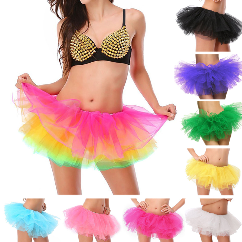Adult Female Tutu Skirt 5 Layered Tutu Mini Ball Gown Skirt Women Lady's Tulle Princess Party Skirts Sexy Club Short Pettiskirt