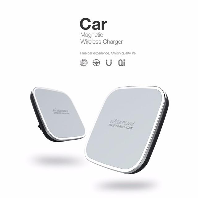 Para iphone 6 6 plus nillkin qi sem fio do carregador do carro titular ar magnética desabafar montagem pad para samsung s6 s7 s7 edge note 5 nota 7