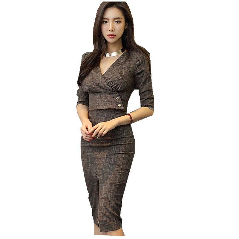 2 Pièce Set Femmes 2018 Coréen Femmes Printemps Mode Moitié manches À Carreaux Col V Top + Gaine Fendue Moulante Crayon Jupe ensemble