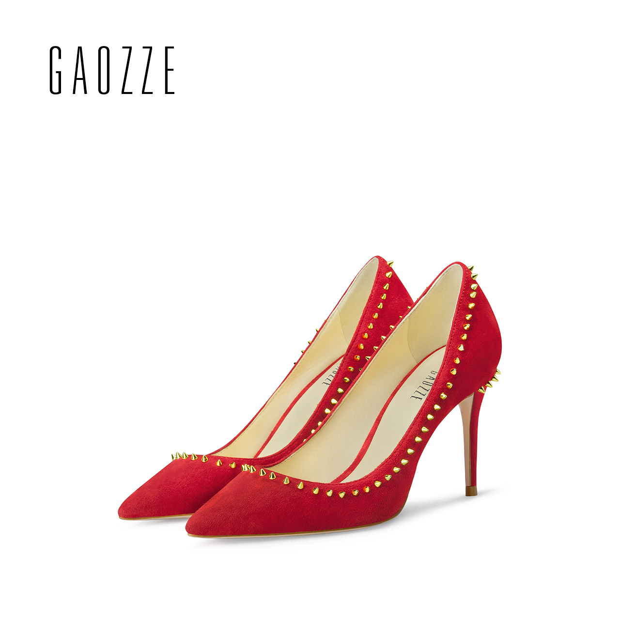 GAOZZE new red high-heeled pump shoes women wedding shoes pointed toe casual shoes rivets pumps shoes 2017 autumn camel 2015 autumn new fashion women pump cashmere calfskin round lace deep mouth high heeled shoes a53040605